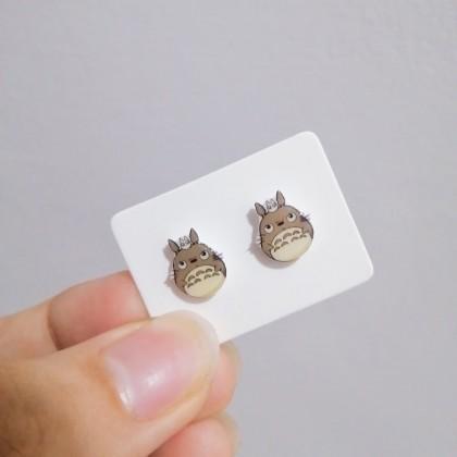 龙猫防敏感塑料耳钉