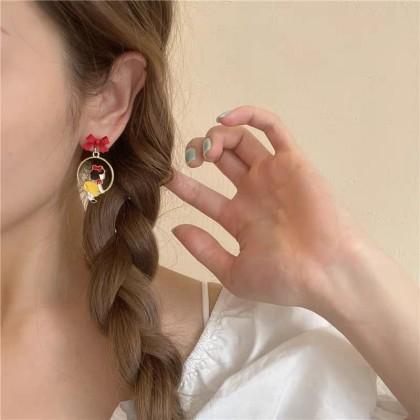 S925不对称可爱童话少女白雪公主耳钉耳环