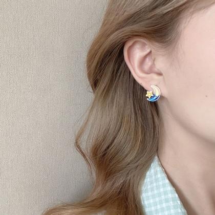 S925不对称深蓝星星月亮兔子耳钉耳环