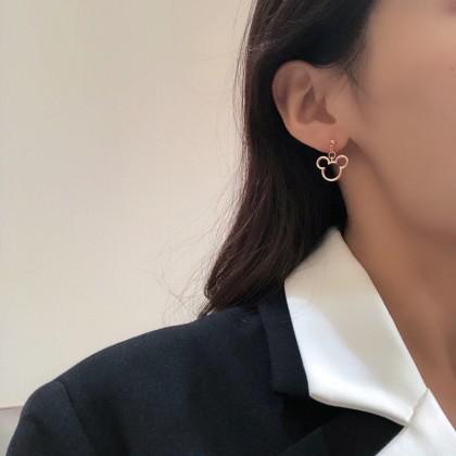 S925不对称米奇玫瑰金耳钉耳环