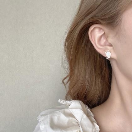 S925可爱猫眼麋鹿耳钉耳环