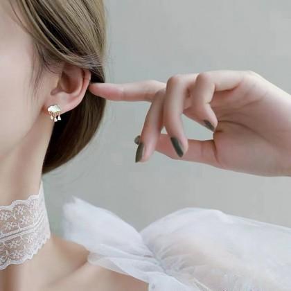 S925可爱云朵吊坠水晶耳钉耳环