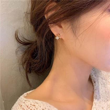 S925简约满钻五角星六芒星耳钉耳环