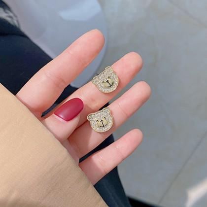 S925满钻金色熊头耳钉耳环