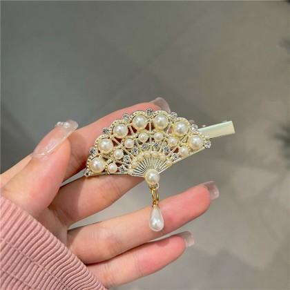 中国风复古珍珠钻扇子鸭嘴夹发夹