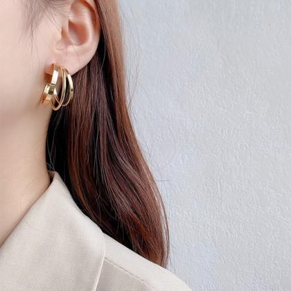S925欧美大气金色耳圈耳环