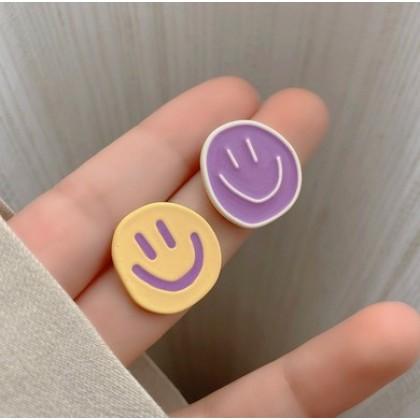 S925不对称紫黄笑脸耳钉耳环