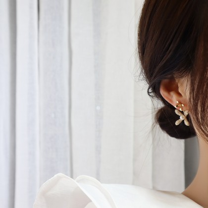 S925满钻花前后式挂耳钉耳环