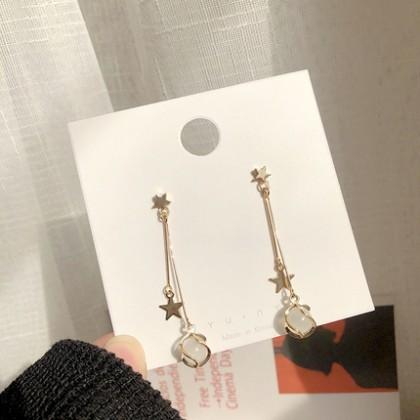 S925韩版个性五角星长款猫眼耳钉耳环