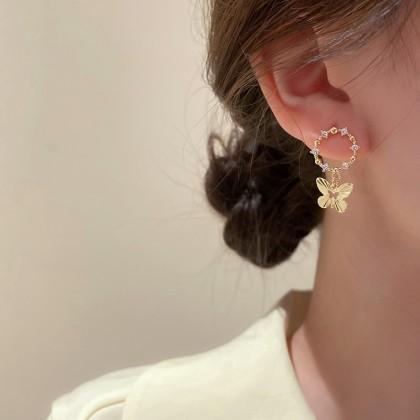 S925镶钻圆形仙气蝴蝶简约耳钉耳环