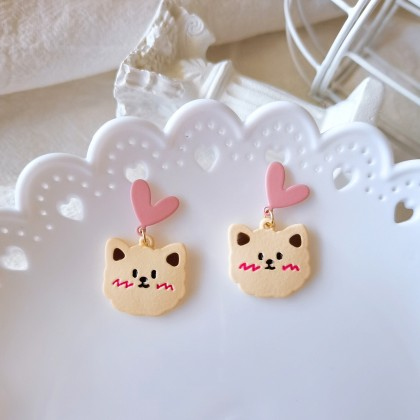 S925粉色爱心可爱小猫耳钉耳环