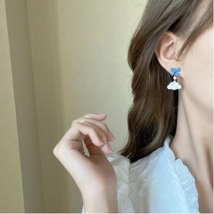 S925 不对称蓝色蝴蝶结小熊云朵耳钉耳环