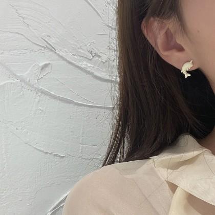 S925 不对称可爱海豚耳钉耳环