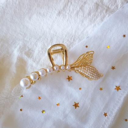 金属珍珠美人鱼尾巴抓夹发夹