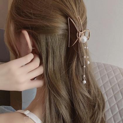 金属珍珠流苏抓夹发夹