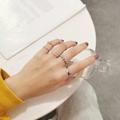 套装百搭金色银色戒指
