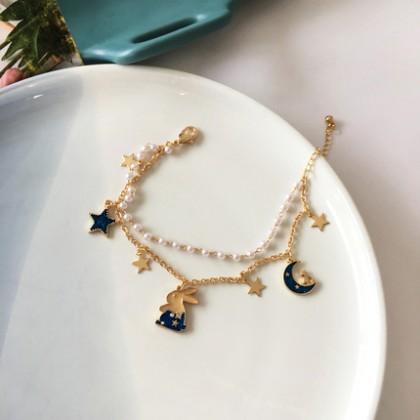 梦幻星星月亮蓝色系列兔子珍珠双层手链