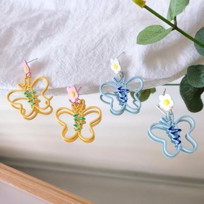 S925花朵镂空彩色蝴蝶耳钉耳环