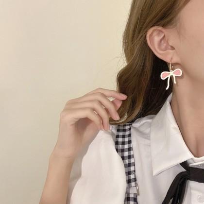 S925粉白蝴蝶结可拆半耳圈C圈耳环