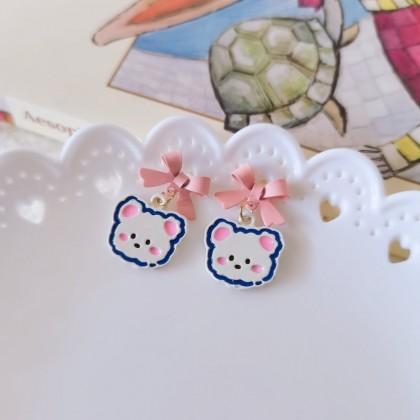 S925粉色蝴蝶结可爱熊耳钉耳环