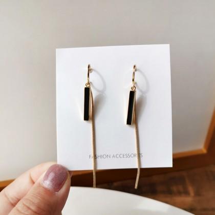 S925优雅黑色长款耳钉耳环