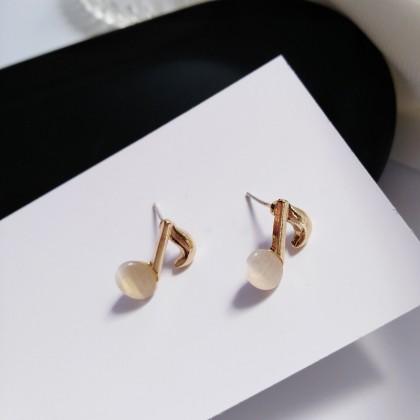 S925猫眼小音符耳钉耳环