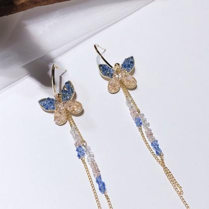 S925 两式戴双色水晶长款蝴蝶半耳圈C圈耳环