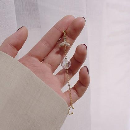 S925单只超仙美人鱼透明球耳骨夹耳环
