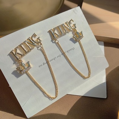 S925 金属KING字母链条耳钉耳环