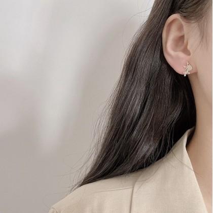 S925满钻可爱麋鹿耳钉耳环