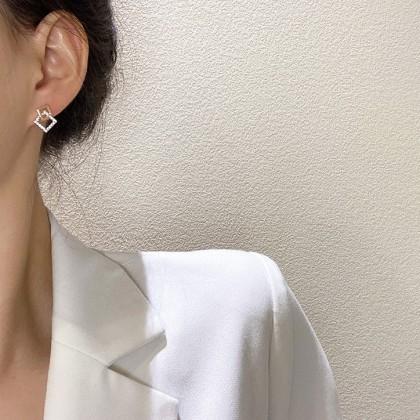 S925几何方块双层正方形耳钉耳环