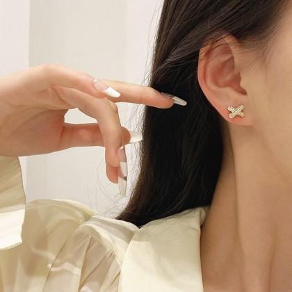 S925满钻X字母耳钉耳环