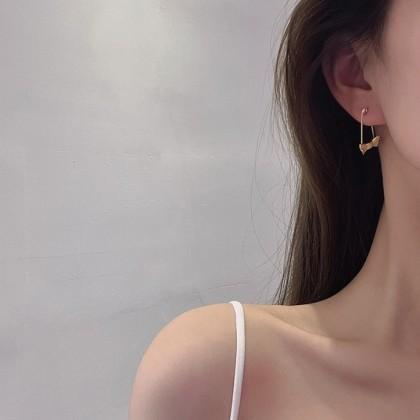 S925别针蝴蝶结耳钉耳环