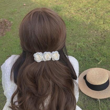 超仙立体玫瑰弹簧夹发夹