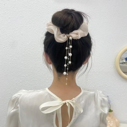 流苏水晶珍珠大肠圈发圈