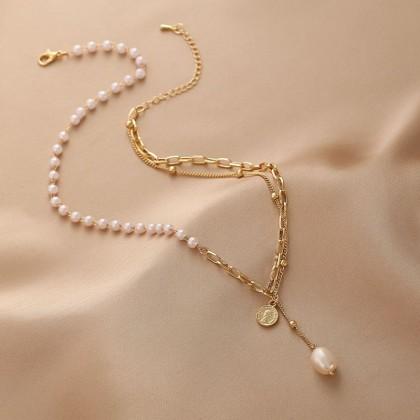 双层拼珍珠吊坠钱币流苏金色项链