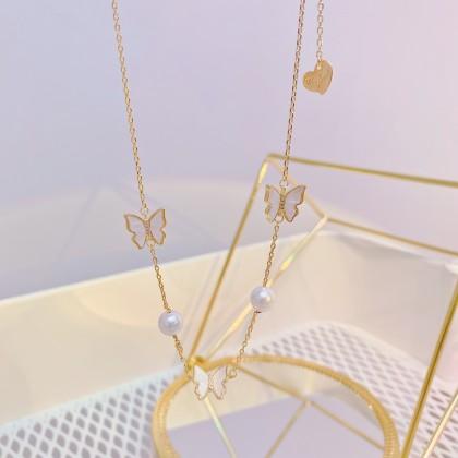 珍珠蝴蝶锁骨项链